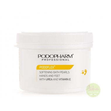 PODOPHARM PODOFLEX® SOFTENING BATH PEARLS HANDS AND FEET WITH UREA AND VITAMIN E vannipärlid 97% urea ning E-vitamiiniga, 400 g